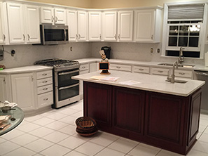 Newly Resurfaced Cabinets in Kitchen