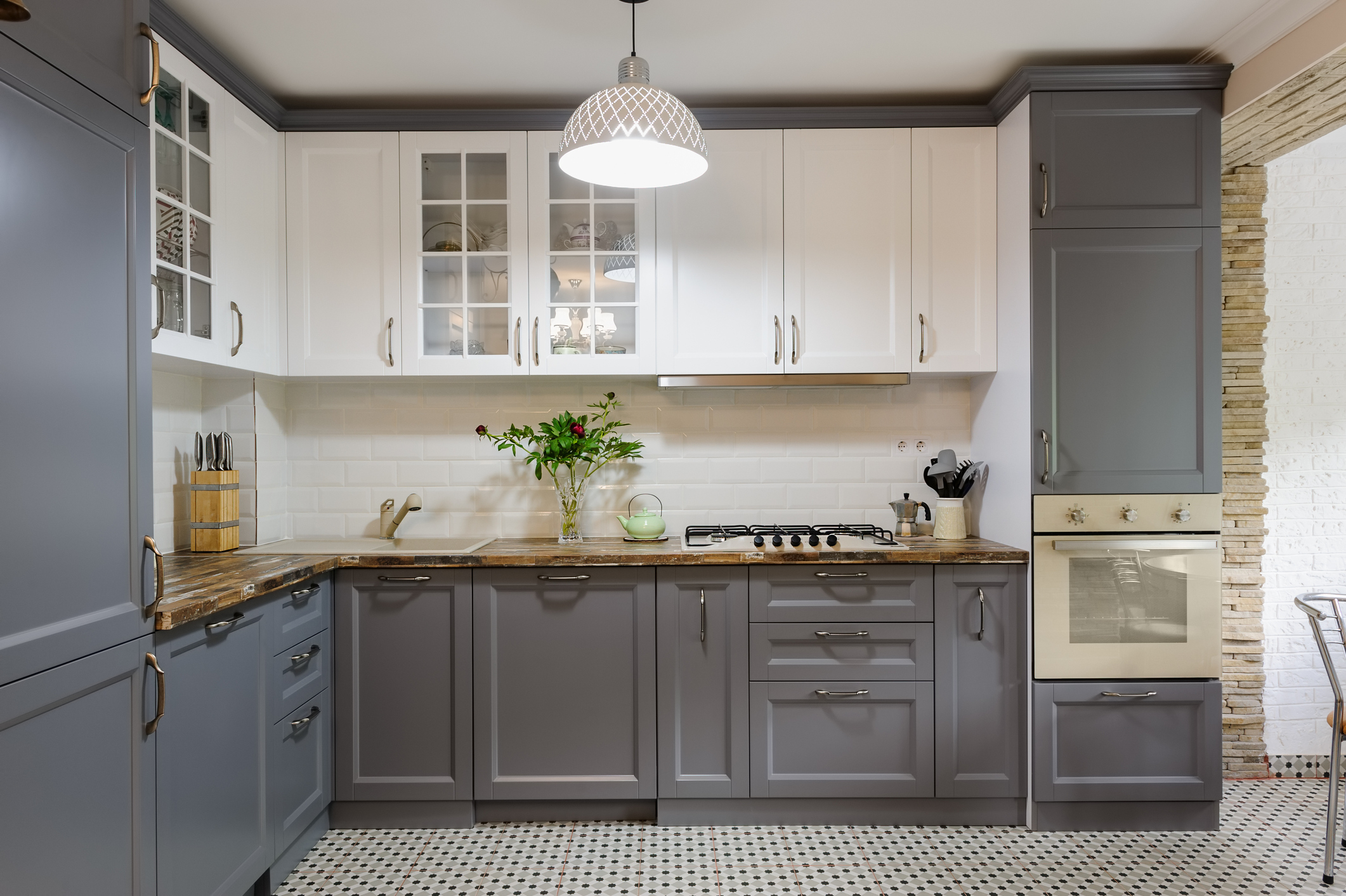 Grey and White Kitchen Cabinets